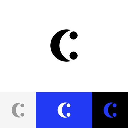 C avec un vecteur à deux points. Logo de minimalisme, icône, symbole, signe de lettres c. Logo plat design avec couleur bleue pour entreprise ou marque. Banque d'images - 93812385