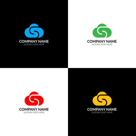 Nuage avec illustration vectorielle lettre s, icône plate et modèle de conception vectorielle. L'icône de nuage pour la marque ou une entreprise avec du texte. Banque d'images - 93812622