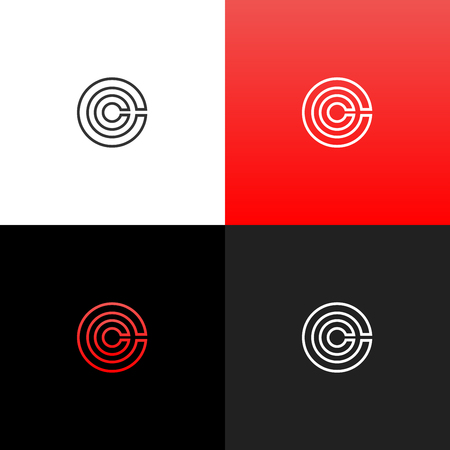 Lines c in circle logo. Linear logo of the letter c for companies and brands with a red gradient. Set of minimalistic monogram design.