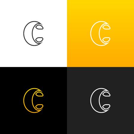 Logo C. Logo linéaire de la lettre c pour les entreprises et les marques avec un dégradé jaune. Ensemble de conception monogramme minimaliste. Banque d'images - 93879009
