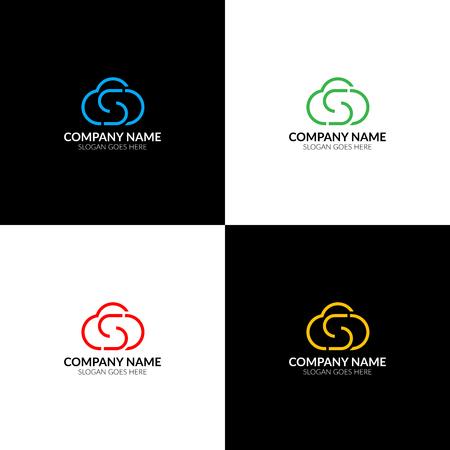 Illustration vectorielle Logo de nuage avec lettre s, modèle de conception icône plat et vecteur. Le logotype cloud pour une marque ou une entreprise avec texte. Banque d'images - 93815322