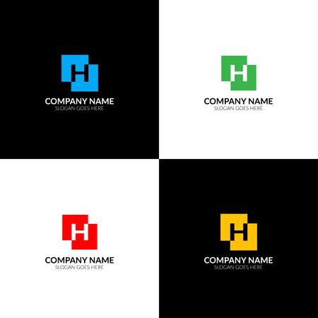 Illustration vectorielle Lettre H en logo carré abstrait, modèle de conception icône plat et vecteur. La lettre h en logotype carré pour une marque ou une entreprise avec texte. Banque d'images - 93812090