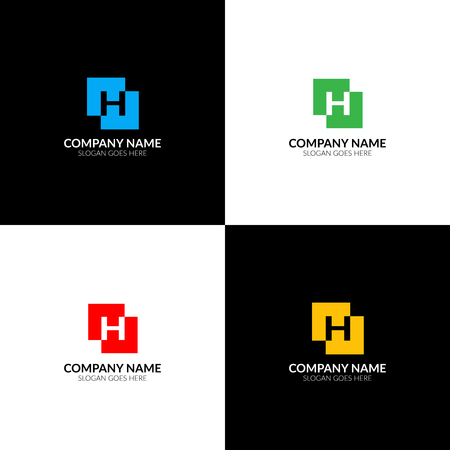 Illustration vectorielle Lettre H en logo carré abstrait, modèle de conception icône plat et vecteur. La lettre h en logotype carré pour une marque ou une entreprise avec texte.