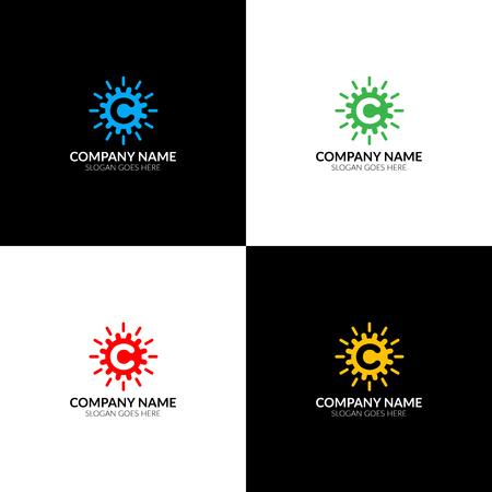 Illustration vectorielle Lettre c en logo de cercle abstrait, modèle de conception icône plat et vecteur. La lettre c avec le logo de cercle pour la marque ou l'entreprise avec le texte. Banque d'images - 93814056