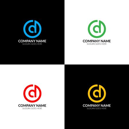Illustration vectorielle Lettre D dans le logo de cercle, modèle d'icône plate et vecteur. La lettre d avec le logo de cercle pour la marque ou l'entreprise avec le texte. Banque d'images - 93812089