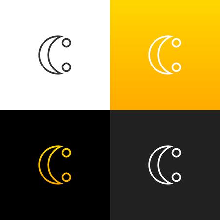 Logo c avec deux points de travail de conception de la lettre de lettres pour les entreprises et les étiquettes de l & # 39 ; ensemble d & # 39 ; un ensemble de rubans anglais . conception de monogramme jaune Banque d'images - 93815164