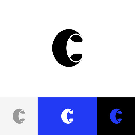 C letter in bold style vector. Minimalism logo, icon, symbol, sign from letters c. Flat logotype design with blue color for company or brand. Illustration