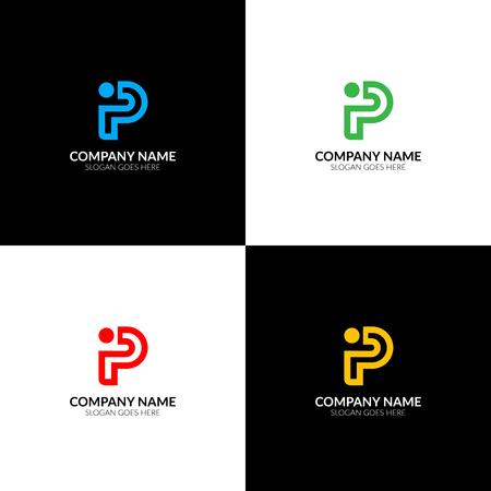 Illustration vectorielle Gras, lettre p, logo, icône, plat, et, modèle de conception. Le logo des lettres P et I pour la marque ou la société avec le texte. Banque d'images - 93812096