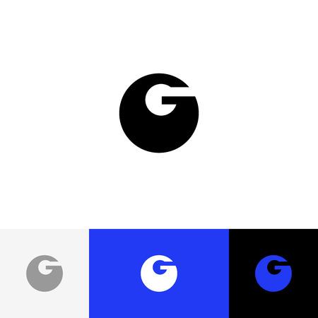 Vecteur G. Logo de minimalisme, icône, symbole, signe en caractères gras g. Logo plat design avec couleur bleue pour entreprise ou marque. Banque d'images - 93813695