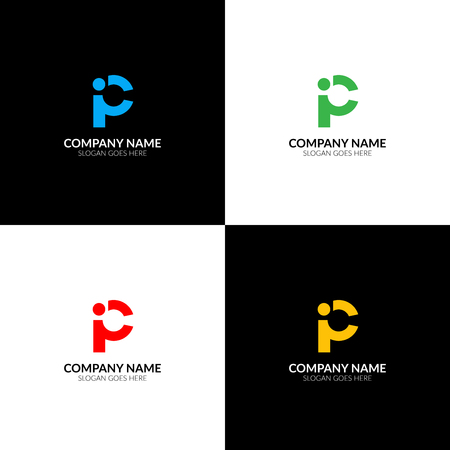 Letter p and i logo, icon flat and vector design template. The letter P and I logotype for brand or company with text.
