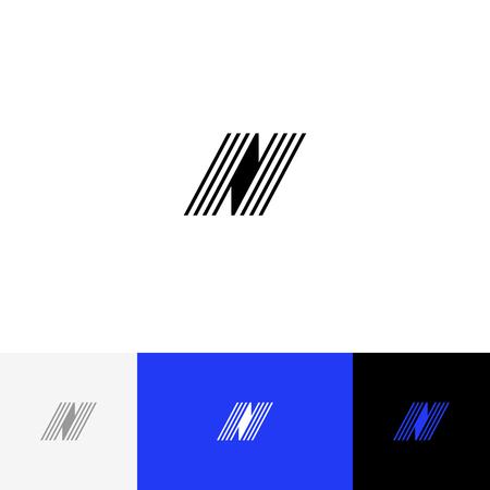 N avec vecteur de lignes. Logo de minimalisme, icône, symbole, signe de lettres n. Logo plat design avec couleur bleue pour entreprise ou marque. Banque d'images - 93812387