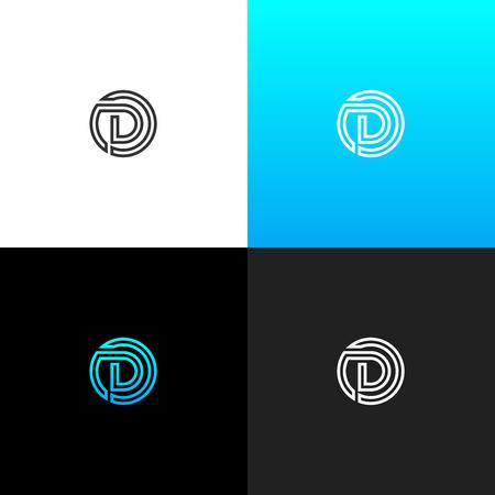 Logo de la ligne en cercle. logo linéaire de la lettre pour les entreprises et les points avec un ensemble de noir bleu . conception de monogramme monogramme Banque d'images - 93813698