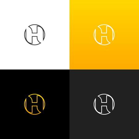 Logo H dans le cercle. Logo linéaire de la lettre h pour les entreprises et les marques avec un dégradé jaune. Ensemble de conception monogramme minimaliste. Banque d'images - 93813697