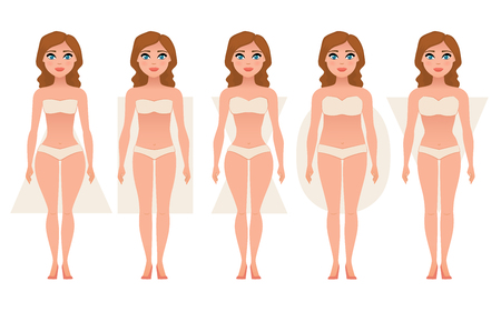 Female body figures. Woman shapes, five types hourglass, triangle, inverted triangle, rectangle pear, rounded Vector illustration Illustration