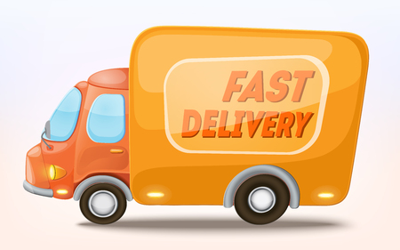 free illustration: Cartoon delivery truck icon. Delivery service concept. Isolated on white. Vector Illustration.
