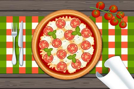 マルゲリータ ・ ピザ。トマト、チーズ、モッツァレラチーズとバジルの木のテーブルに美味しいピザ。ベクトルの図。