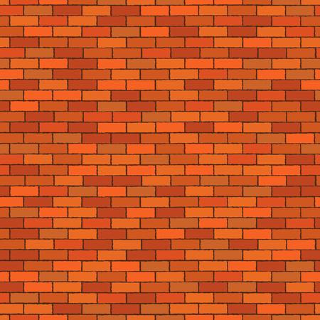 Orange seamless brick wall. Pattern stonework background. Vector illustration.