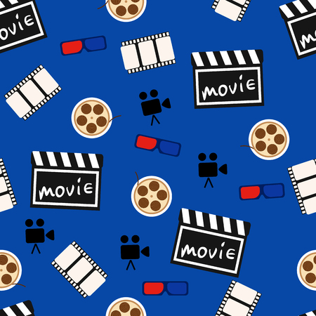 videotape: Movie abstract seamless pattern, movie background. Vector illustration Stock Photo