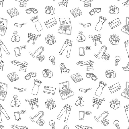 Set of sketch vector hand draw cartoon object on the Online shopping concept. Vector illustration.