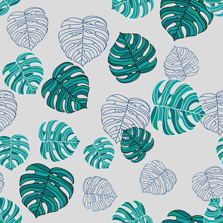 Abstract seamless green floral pattern of monstera. Vector illustration