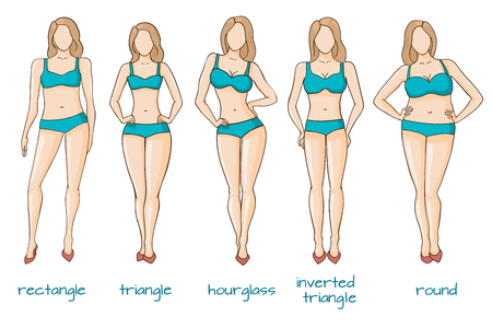 Female body figures. Woman shapes, five types hourglass, triangle, inverted triangle, rectangle, rounded Vector illustration Vettoriali
