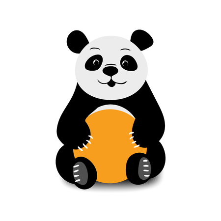 Baby funny cartoon bear panda sitting on a white background. Vector illustration. Illustration