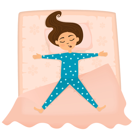 Little cute girl sleep in bed. Girl sleeping in the position of the stars. Vector illustration.