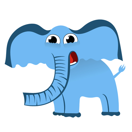 Cartoon cute character of little blue elephant. Vector illustration