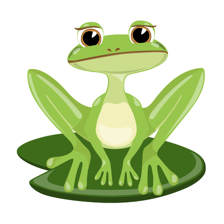 Cartoon cute sad green frog siting on cane, vector illustration.
