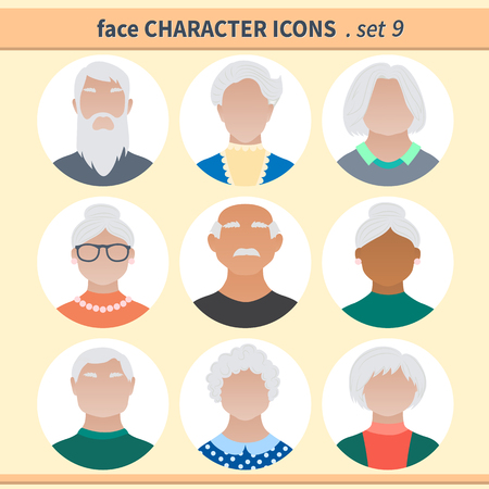 Male and female faces avatars, haracter icons. Vector illustration set 9.
