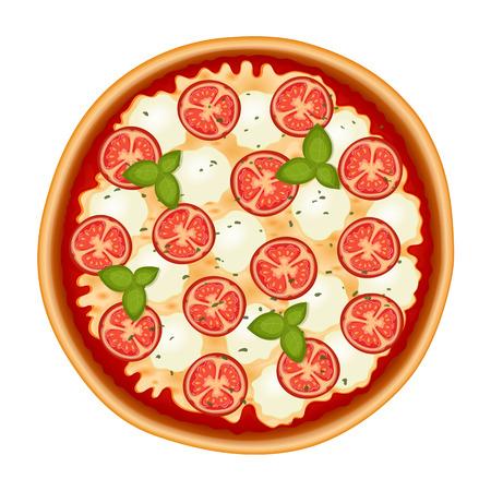 マルゲリータ ・ ピザ。トマト、チーズ、モッツァレラチーズとバジルのおいしいイタリアンピザ。白で隔離。ベクトルの図。