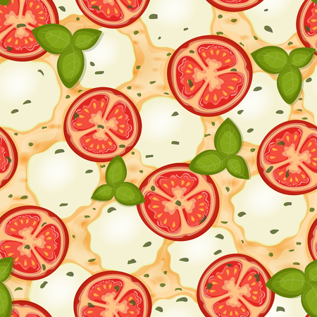 Margherita pizza. Delicious pizza seamless pattern with tomato, cheese, mozzarella and basil. Vector Illustration.
