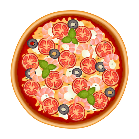 Delicious italian pizza with shrimp, olive, cheese, tomato, mozzarella and basil. Pizza icon isolated on white. Vector Illustration.