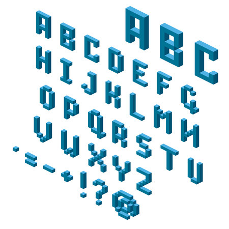 Isometric alphabet and symbols for your design, isometric grid 26.57 degree. Vector illustration.