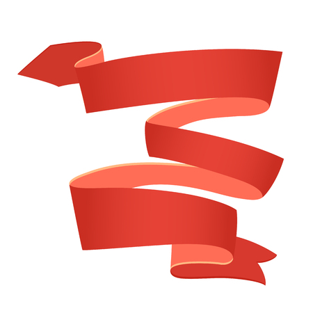 Red retro celebration ribbon. Bright ribbon for your design on white background. Vector illustration.