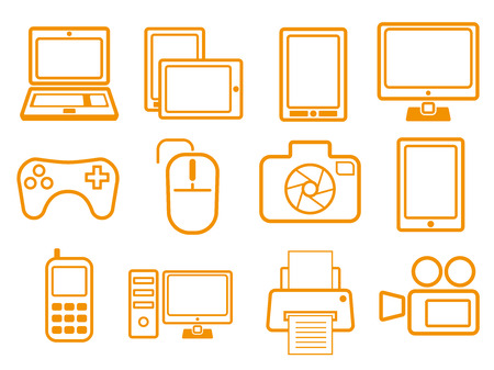 Orange electronic devices icons for your business and website. Vector illustration. Banque d'images