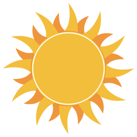 Yellow flat abstract sun burst icon isolated on white background. Trendy vector summer symbol for your website. Vector illustration