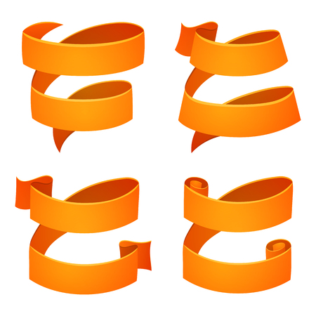 Set of orange retro celebration ribbons and labels. Bright ribbon for your design on white background. Vector illustration.