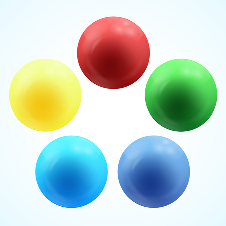 Colorful glossy 3d volume of a spheres isolated on white. Vector illustration Banque d'images