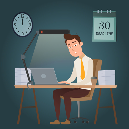 Employee funny cartoon character man sitting at the table and working all night with stacks of papers. Businessman has a problem with a deadline. Vector flat design illustration. Illustration