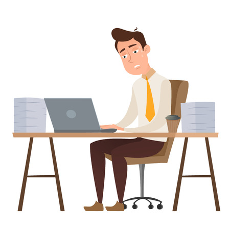 Employee funny cartoon character man sitting at the table and working all night with stacks of papers isolated on white. Businessman has a problem with a deadline. Vector flat design illustration.