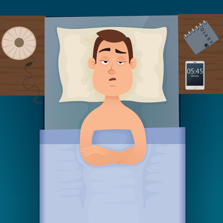 Young employee man with sleep problems and insomnia symptoms. Sleepless man all night thinking about work. Vector design illustration.