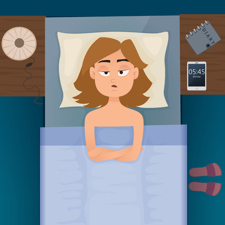 Young employee woman with sleep problems and insomnia symptoms. Sleepless girl all night thinking about work. Vector design illustration. Illustration