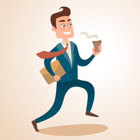 Happy businessman is running with morning coffee. Office worker, employee late for work, hurry, run. Vector flat design