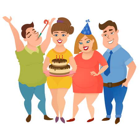 Group of happy smiling friends looking at a birthday cake on a white background. Friendship office party. Happy fat men and women party. Colorful vector illustration.