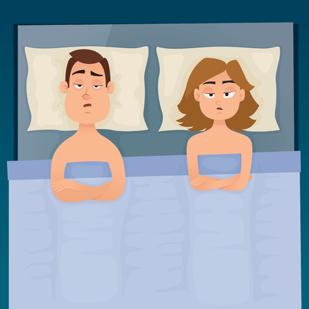 Young employee boy and girl with sleep problems and insomnia symptoms. Sleepless man and woman all night thinking about work or quarrel. Vector design illustration.