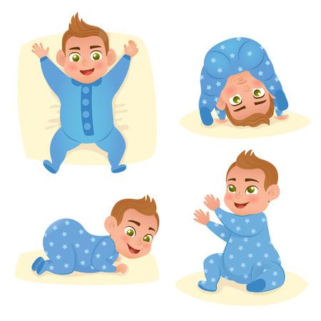 Set with cute smile little baby boy in blue pajama. Happy child. Vector illustration.