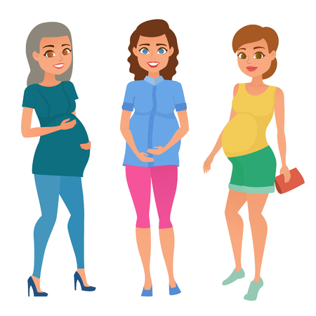 Set of different young pregnant woman, pregnancy female belly expecting beautiful future mother character. Fashion look with different hairstyles and clothes. Vector illustration.