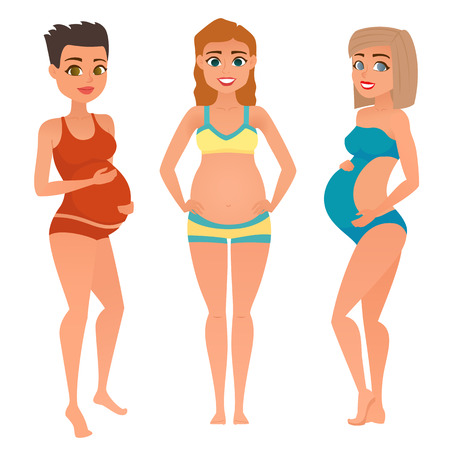 Set of different young pregnant woman in swimsuit. Pregnancy in summer, on holiday. Fashion look with different hairstyles and clothes. Vector illustration.