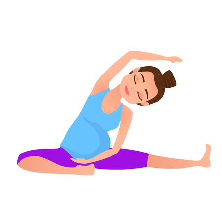 Young beautiful pregnancy woman character meditation while stretching yoga position. Stretch posture. Fitness healthy lifestyle. Pregnant yoga pose. Vector illustration. Illustration